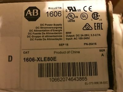 NEW Allen Bradley 1606-XLE80E Power Supply, In: 100-240VAC, Out: 24VDC Qty Avail