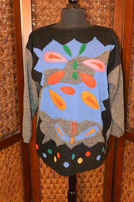 Womens Vintage 80's DRESSY TESSY Abstract Geometric Acrylic Pullover Sweater Lg
