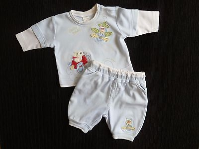 Baby clothes BOY newborn 0-1m NEXT outfit blue fun planes long sl. top/trousers