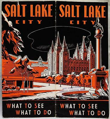 SALT LAKE CITY UTAH SOUVENIR TOURISM & TRAVEL BROCHURE GUIDE 1940s VINTAGE