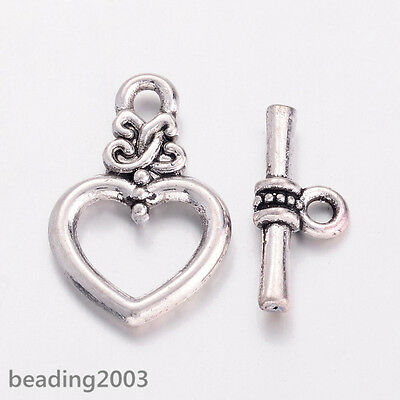 20 Sets Tibetan Silver Heart Toggle Clasps Bracelet Closures Craft Findings