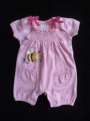 Baby clothes GIRL newborn 0-1m outfit pink/white bee dress-style romper/bodysuit
