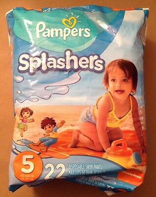 Pampers Splashers 22 Disposable Swim Pants Size 5 or 30-40 lb. Child