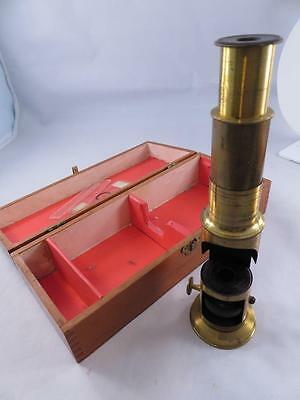 Antique Small Brass Microscope With Original Fitten Wooden Case