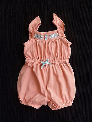 Baby clothes GIRL 0-3m peach/aqua soft cotton romper short sleeves SEE SHOP!