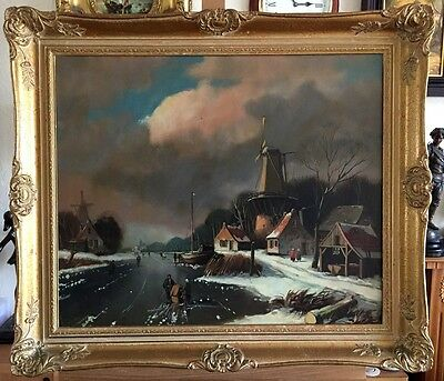 Dutch Winter Oil Painting On Canvas In Gilt Frame