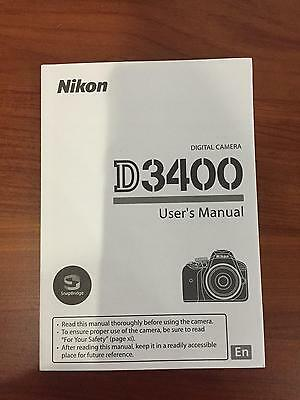 Nikon D3400 Digital Camera User's Manual Guide Book Brand New. Never Used