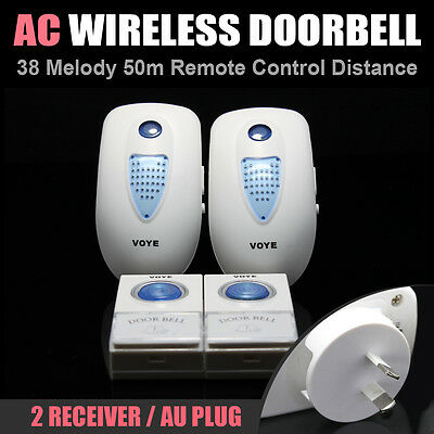 50M AC 240V 2 Transmitter 2 Receiver Wireless Remote Door Chime Bell 38 Sounds