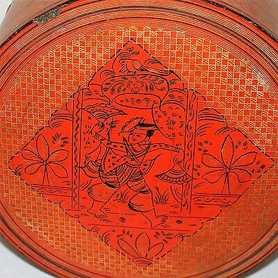 Antique Burmese Lacquer Box Orange Betel Nut Bamboo with Fan Dancer and Bird