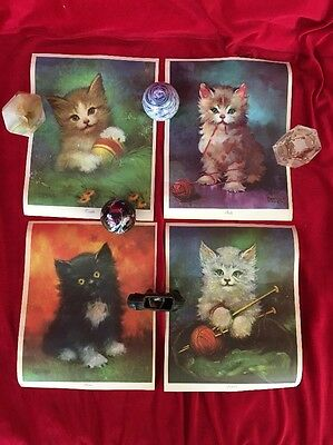 Vintage Prints by FLORENCE KROGER Kittens Fluffy, Twinkle, Boots and Snowball