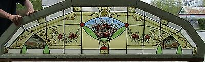 Eight Foot Stained Glass Arch Window With Hand Painted Flowers And Scenes