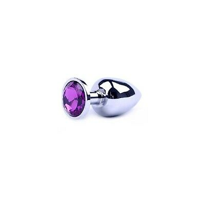 Plug Metal butt type rosebud Stainless Steel Crystal Jewelry Size M Color purple