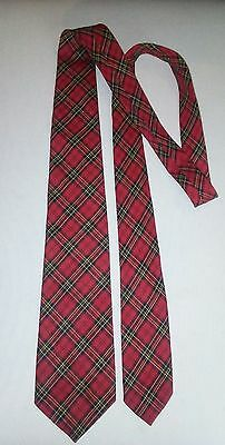 Vintage HABAND'S CLUNY Red Plaid  Rockabilly Men's Neck Tie