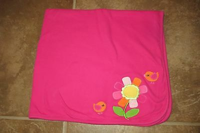 Gymboree Brand Adorable Baby Girl Double Knit Hot Pink Floral Blanket 30X30 Euc!