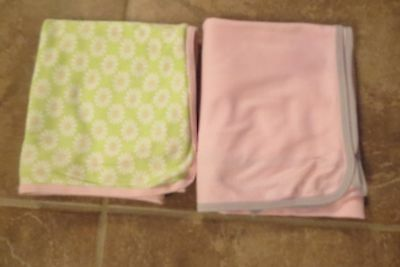 Carter's Brand 2 Baby Girls Large Knit Baby Blankets Pink Green Size 30X40 Euc!