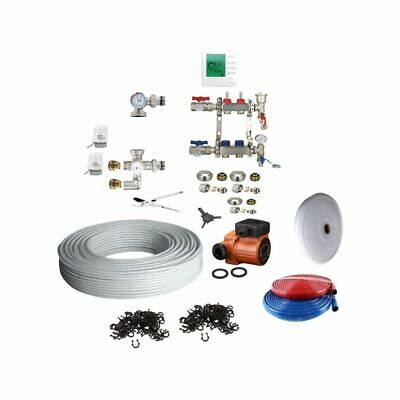 Under Floor Heating Kit Water 25-30m2 Barrier Pipe 16mm Manifold Electric Valves