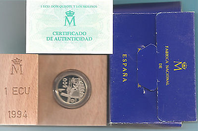 España - Moneda 1 Ecu 1994 Proof Plata Cervantes Y Don Quijote