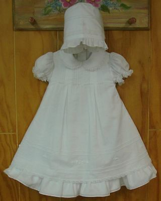 NWT Monelli Baby Girl Christening Baptism Gown Bonnet Dress White Embroidered 6m
