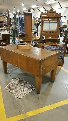 Antique Butcher Block Chopping Block Table Need To Sell Fast