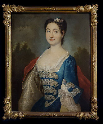 Fine Large 18th Century Portrait Young Pretty Lady Rococo Antique Oil Painting