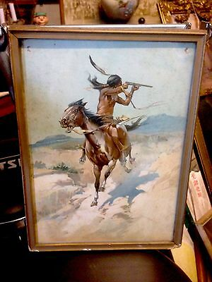 Old 1905 Native American Indian Colored Hayes Litho Print Western