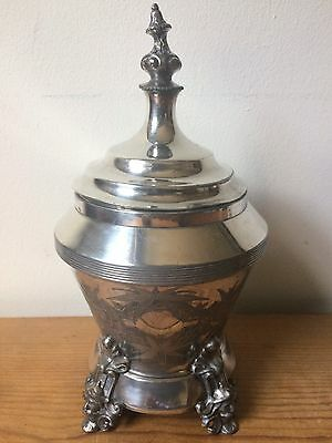 Antique 1873-1886 E G Webster & Bro Silver Plate Footed Covered Jar Urn Containr