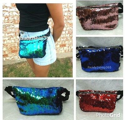 Sequin Fanny Pack Glitter Bag waist Pouch Purse Reversible Hip Mermaid Travel