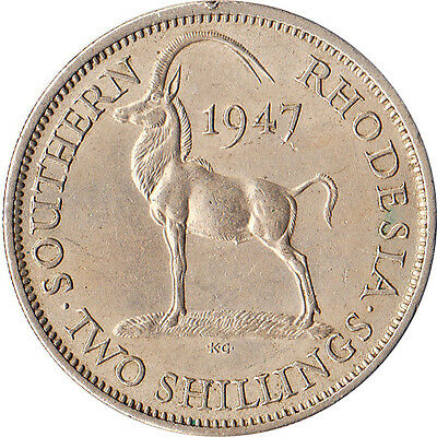 1947 Southern Rhodesia 2 Shillings Coin KM#19b One Year Type