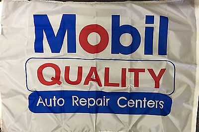 Vintage Mobil Quality Auto Repair Centers Flag from 1980's