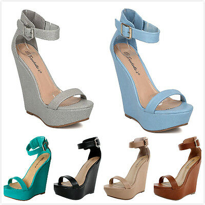 New Women's Fashion Open Toe Ankle Strap High Heel Platform Wedge Pumps Sandals