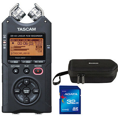 Tascam DR-40 Digital Recorder with Carry Case and 32GB Memory Card +Picks