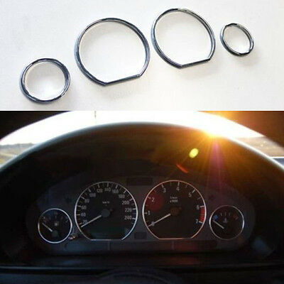 Chrome Speedometer Gauge Instrument Cluster Ring Bezel Trim for BMW E46