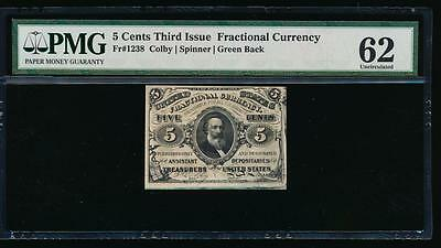 AC Fr 1238 $0.05 1863 fractional 3rd issue PMG 62 no surcharges UNCIRCULATED