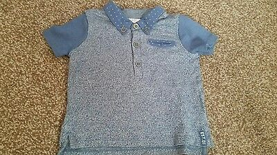 Lovely Baby Boy's Blue Polo Top - F&F - Age 3-6 Months