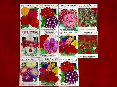 Lot of 11 Vintage Old Unopened 1970's Flower Seed Packets With Seeds M. Leonard