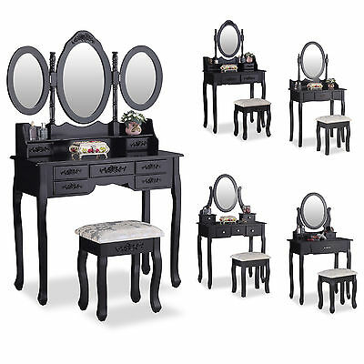 Black Dressing Table Makeup Desk with Stool Drawers and Oval Mirror Bedroom