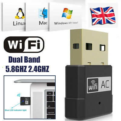 600MBPS Dual Band USB Wireless WiFi Network Adapter USB Dongle 5.8GHZ 2.4GHZ