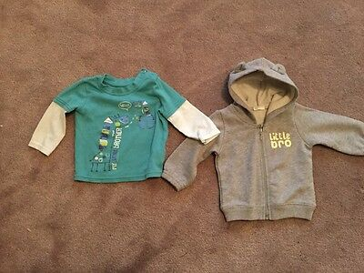 Set Of 2 Baby Boys Little Brother Top & Hooded Jacket Size 3-6 Months