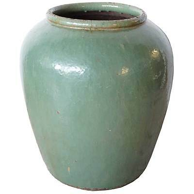 Large Antique Chinese Qing Jiaxing Celadon Pottery Water Urn 19th century