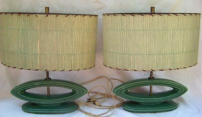 Pair Vintage Mid Century Modern Ceramic Table Lamps With Oval  Shades