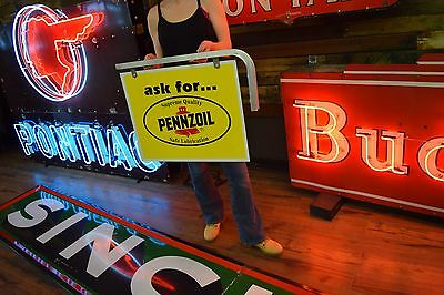 Pennzoil Motor Oil Double Sided Metal Sign 1980s NOS never used Deaer Gas Advert