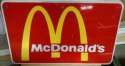 """McDONALD'S Reflective Interstate Highway Sign 18"""" X 30"""" MAN CAVE POOL"""