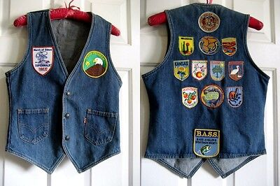 VTG - LEVI's - Orange Tag - Vest w/Patches of Many States - Others - USA -SZ: SM