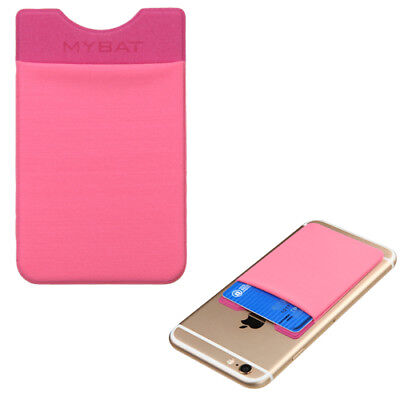 Universal Sticky Adhesive Credit Card Pouch Wallet Sleeve - Pink