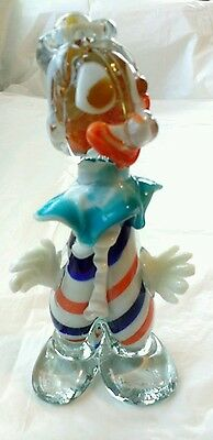 "Vntg 6.5"" Italian Venetian Murano Style Hand Blown Art Glass Clown Figurine"
