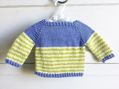 Hand Knitted 3 months 000 Baby Boy Jumper Cardigan, Aus Pure Wool, Blue Green