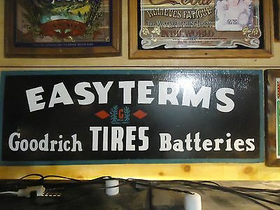 Vintage Goodrich Tires Plywood Painted Sign-Large-Advertising-Rare-Original