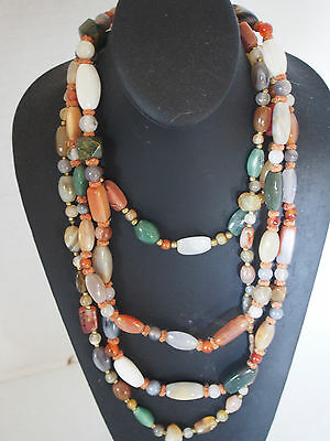 """320g Lot 3 Vtg OR Antique Agate Carnelian Bead Necklace 50"""" 26"""" 16"""" FC-Chinese ?"""