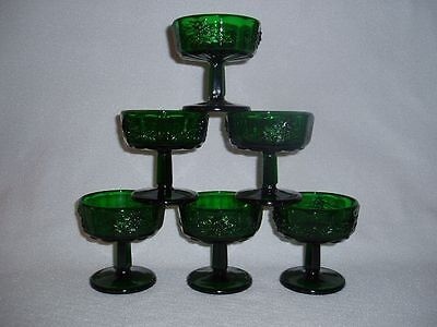 6 Fenton for L.G. Wright Paneled Grape FOREST GREEN Tall Sherbets Free U.S Ship