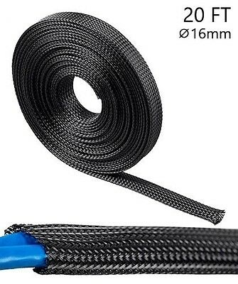 20ft Expandable Sleeving Polyester Cable Wrap Wire Cord Hider Cover Organizer